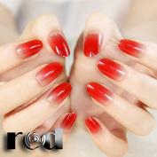 24pcs Fashion Style Candy Colour Grace Lemon Green Brown Pink Red Purple Blue Beige Short False Nail Tips Gradient Clear Nails 12 Colour Z071