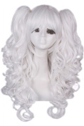 Nuoqi 60cm Long White Lolita Clip on Ponytails Cosplay Hair Wig RW139E