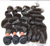 DaJunhair 3 Way Part 4Pcs/lot 1Pc 4x4 lace closure with Virgin Peruvian Remy Human Hair 3 Bundles Hair Weaves Mixed Length Body Wave Natural Colour