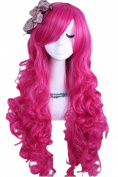 eNilecor Long Sweet Magenta Curly Wavy Hot Pink Cosplay Hair Full Wig for Halloween Custom Cosplay Party Wig