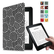 Fintie Kindle Voyage SmartShell Case - [Oriental Breeze Series] The Thinnest and Lightest Protective Cover with Auto Sleep/Wake for Amazon Kindle Voyage (2014), Lazy Bull's Eye Black