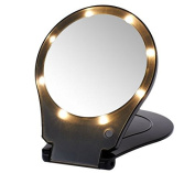 Floxite 5x Magnifying 360 Degree Lighted Home & Travel Mirror - Black