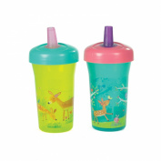 The First Years Simple Straw Cup - 270ml, 2 pack, Green Deer