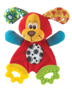 Playgro Teething Blankie for Baby, Pooky Puppy/Colourful