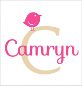 Girl Initial Wall Decal with bird - Personalised Decal with Initial - Bird De...