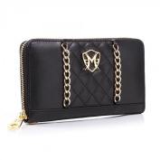 Jessica Nappa Signature Black Chain Wallet Clutch by Greg Michaels, handbag
