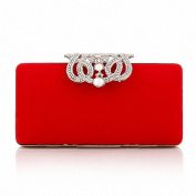 Afibi Rhinestones Crown Velvet Clutch Purse Women Clutch Evening Bags