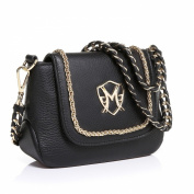 Greg Michaels Becky Flap Mini Shoulder bag with Chain Black Leather