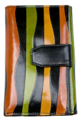 Women's Colourful Clear Coated Middle Size Genuine Leather Wallet
