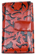 Women's Black-red Clear Coated Genuine Leather Wallet with Leaves Stamping