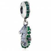 Tropical Seahorse with Green CZ Dangle 925 Sterling Silver Bead Fits Pandora Charm Bracelets