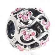Minnie and Mickey Mouse Infinity with Light Pink Austrian Crystal October Birthstone 925 Sterling Silver Bead Fits Pandora Charm Bracelets