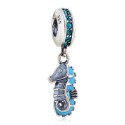 Tropical Seahorse with Blue CZ Dangle 925 Sterling Silver Bead Fits Pandora Charm Bracelets