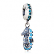 Tropical Seahorse with Blue CZ Dangle 925 Sterling Silver Bead Fits Pandora Charm Bracelets