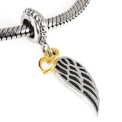 Golden Heart and Guidence Angel Wing Dangle 925 Sterling Silver Bead Fits Pandora Charm Bracelets