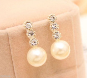 Fashion 1 pair Women Lady Elegant pearl Rhinestone Ear Stud Earrings