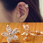 Fashion 1PC Crystal Flower Ear Cuff Earring Fashion Womens Wrap Clip On Jewellery