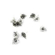 40pcs Silver Tone Silvertone Jewellery Making Retro Repair Vintage Charms Findings Pendant Ancient 09433 Flower Earrings