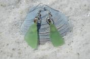 Genuine Light Green Sea Glass Sterling Silver Earrings