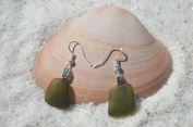 Genuine Moss Green Sea Glass Sterling Silver Earrings