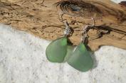 Genuine Winter Green Sea Glass Sterling Silver Earrings