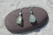 Tiny Genuine Sea Foam Sea Glass Sterling Silver Earrings