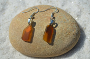 Tiny Genuine Brown Sea Glass Sterling Silver Earrings