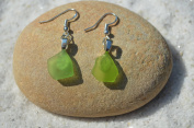 Tiny Genuine Lime Green Sea Glass Sterling Silver Earrings