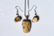 Picture Jasper Stone Sterling Silver Necklace and Earrings Set