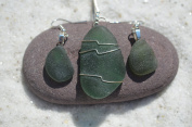 Genuine Dark Green Sea Glass Sterling Silver Earrings and Necklace Set