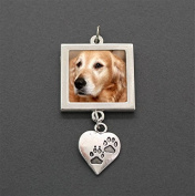 My Faithful Friend Dog Wedding Bouquet Pet Photo Charm with Dangling Paw Print