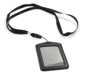 vanki Black 10 Set of Faux Leather Business ID Badge Card Holder with Long Neck Strap Band Lanyard