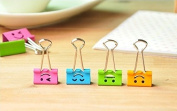 vanki Pack of 40 Cute Lovely Smiling Face Spring-Loaded File Organiser Paper Holder Metal Binder Clips, Assorted Colour