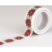 Carta Bella Paper Company Happy a Merry Christmas Poinsettia Decorative Tape