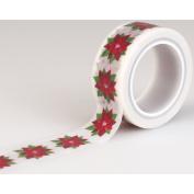 Carta Bella Paper Company Happy a Merry Christmas Poinsettia Decorative Tape