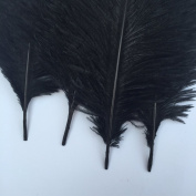 Generic Black 10-12inch 25-30cm Ostrich Feather Home Decoration DIY Craft Pack of 10