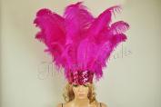 Hot-fans Ostrich Feathers Sequins Open Face Headdress, Hot Pink
