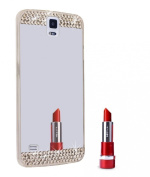 Galaxy S5 Case,Inspirationc® Beauty Luxury Diamond Hybrid Glitter Bling Soft Shiny Sparkling with Glass Mirror Back Plate Cover Case for Samsung Galaxy S5 i9600--Silver
