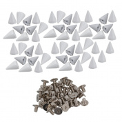 White Metal Studs Cone Punk Spikes Spots Rivet Screwback Punk Leathercraft DIY Pack of 50