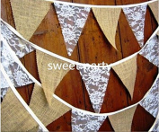 Fabric Garland Party Wedding Linen Lace Garland Bunting Pom Pom