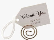Summer-Ray.com 50 Personalised Mini White Wedding Favour Gift Tags Little Arrow