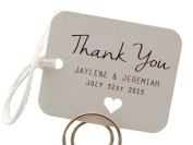 Summer-Ray.com 50 Personalised Mini White Wedding Favour Gift Tags Rounded Rectangle