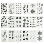 Micropromo® NEW 18 Sheets Cute Black Removable Waterproof Temporary Tattoos Body Art Sticker for Kids Men Women Adults Girls