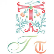 Initial T Stencil (size 17cm w x 22cm h) Reusable Stencils for Painting - Best Quality Letter Wall Art Décor Ideas - Use on Walls, Floors, Fabrics, Glass, Wood, Cards, and More...