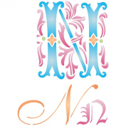Initial N Stencil (size 17cm w x 22cm h) Reusable Stencils for Painting - Best Quality Letter Wall Art Décor Ideas - Use on Walls, Floors, Fabrics, Glass, Wood, Cards, and More...