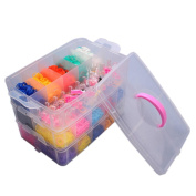 Sant Fe Colourful Gifts 7500pcs Fun Rubber Loom Bands Box Set Make Rubber Band Diy Loom Charms Bracelet Silicone Kit Refill