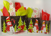 Chalkboard Snowman Gift Bag and Tissue Paper Kit - 6 Bags