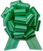 Emerald Green Pull String Bows - 20cm Wide 20 Loops LARGE (2 & 1.3cm ribbon) Set of 10
