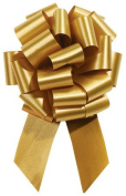 HOLIDAY GOLD Pull String Bows - 20cm Wide 20 Loops LARGE (2 & 1.3cm ribbon) Set of 10