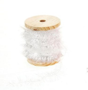 White Frayed Ribbon with Glitter on Wooden Spool